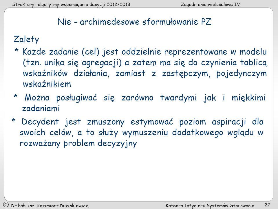 Nie - archimedesowe sformułowanie PZ