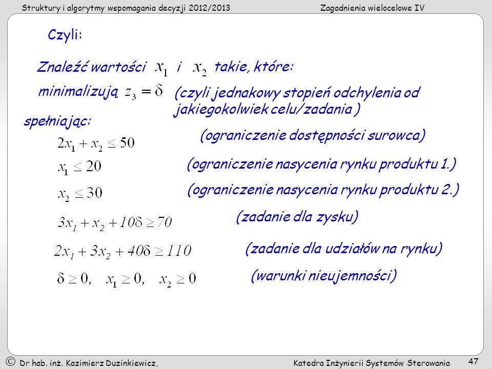 Czyli: Znaleźć wartości. i. takie, które: minimalizują. (czyli jednakowy stopień odchylenia od jakiegokolwiek celu/zadania )