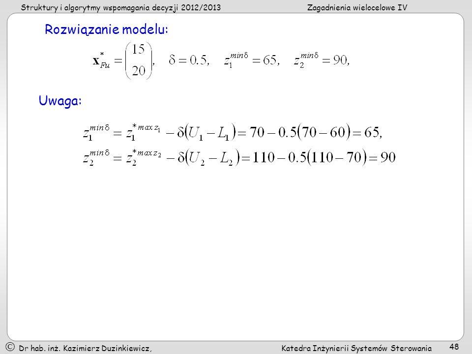 Rozwiązanie modelu: Uwaga: