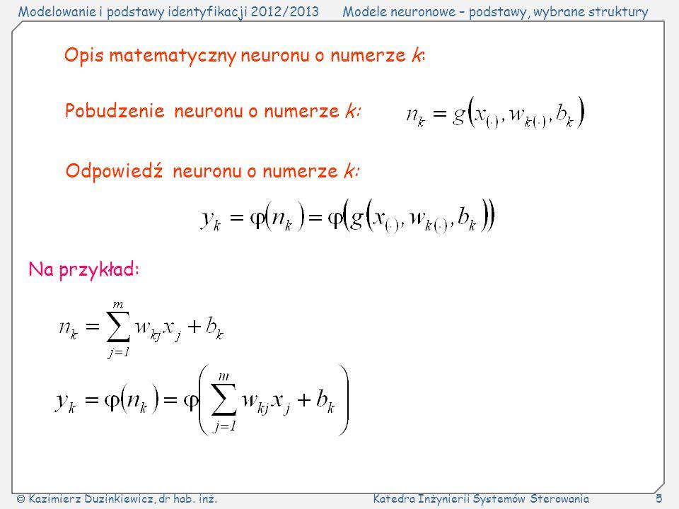 Opis matematyczny neuronu o numerze k: