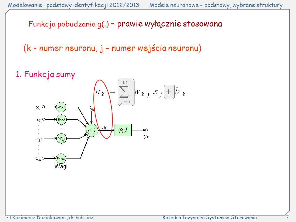 (k - numer neuronu, j - numer wejścia neuronu)