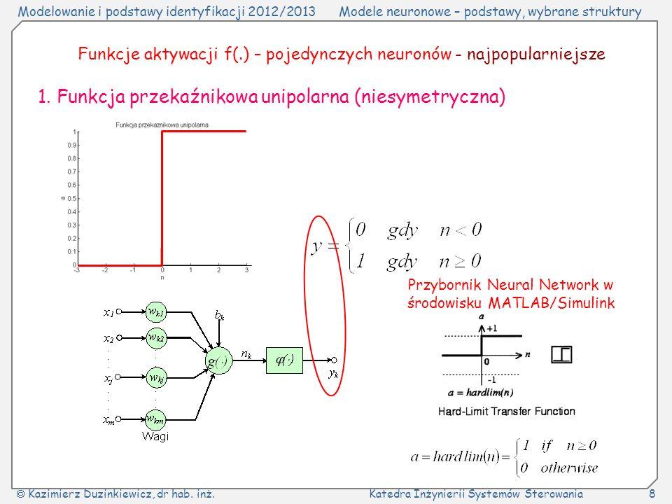 1. Funkcja przekaźnikowa unipolarna (niesymetryczna)