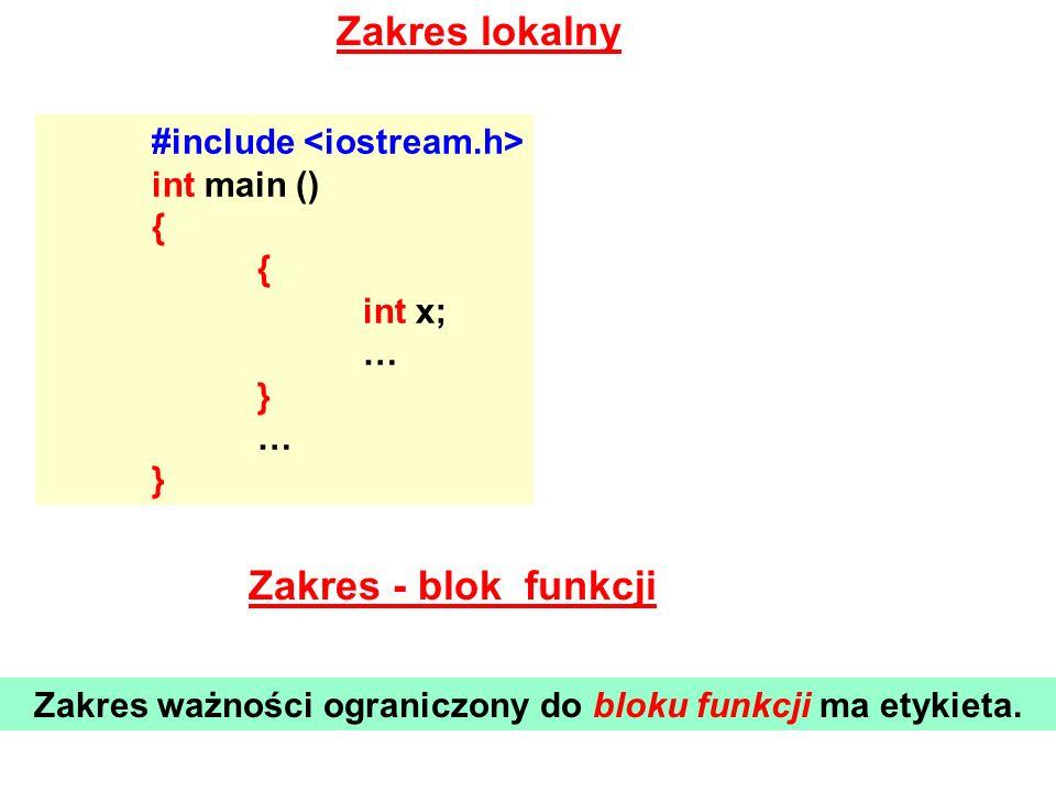 Zakres ważności ograniczony do bloku funkcji ma etykieta.