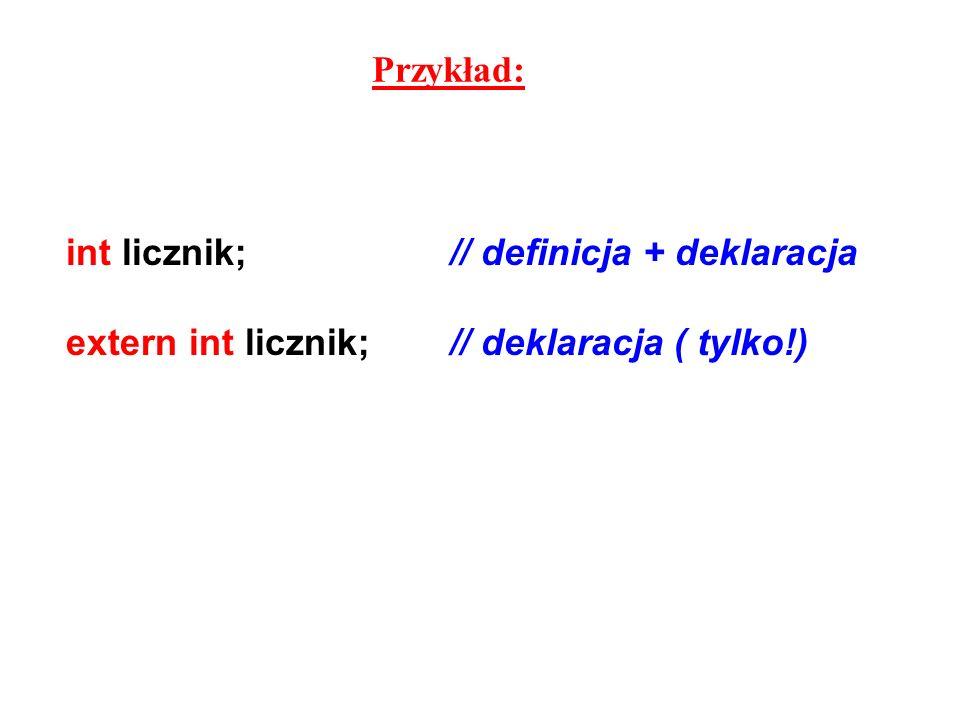 Przykład: int licznik; // definicja + deklaracja extern int licznik; // deklaracja ( tylko!)