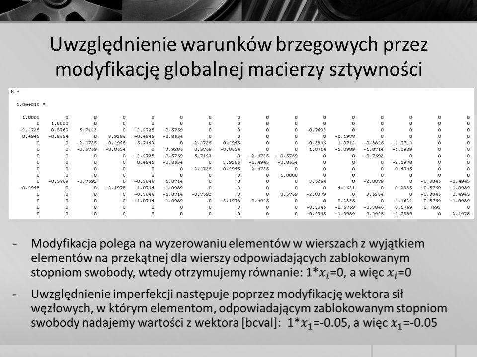 Uwzględnienie warunków brzegowych przez modyfikację globalnej macierzy sztywności