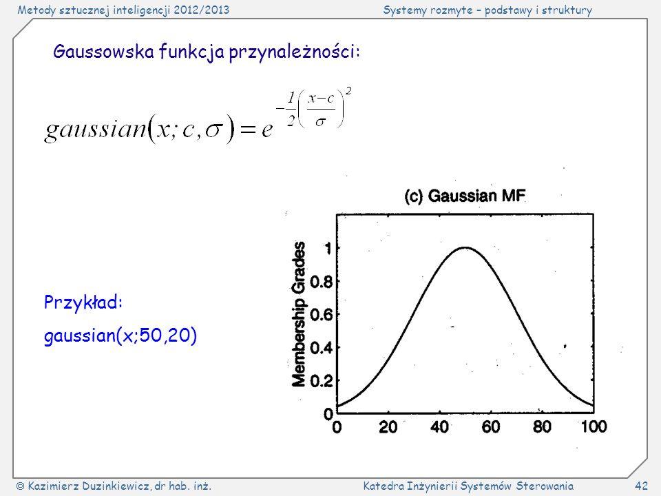 Gaussowska funkcja przynależności: