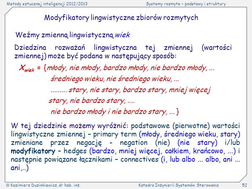 Modyfikatory lingwistyczne zbiorów rozmytych