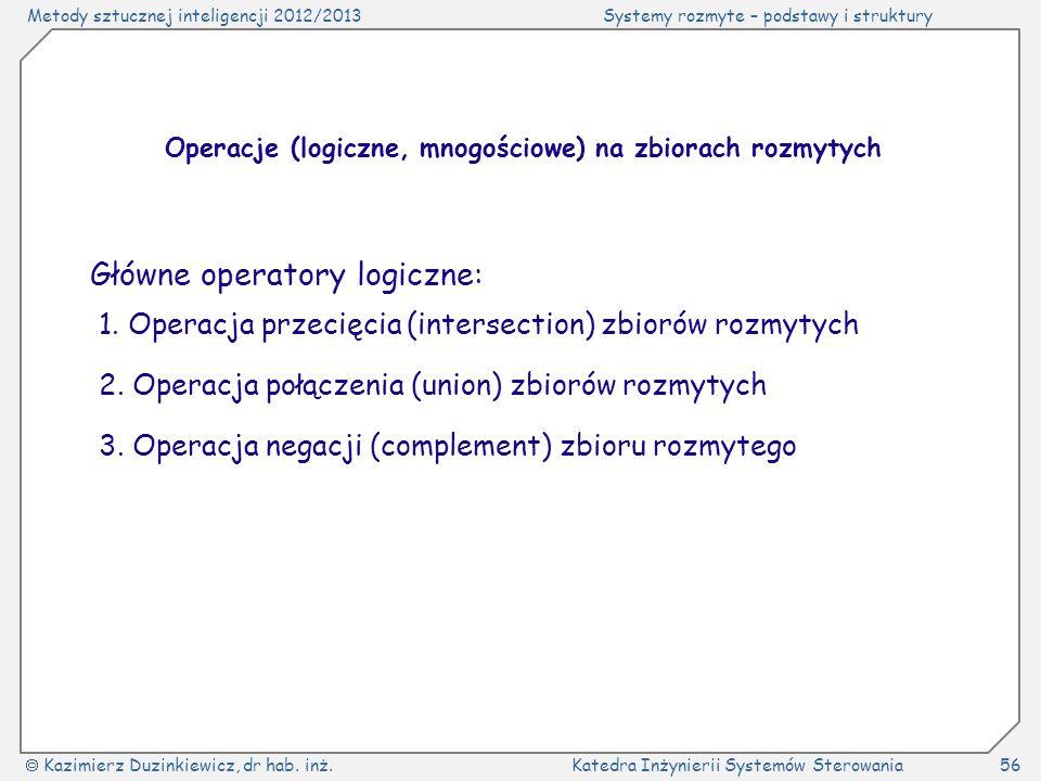 Operacje (logiczne, mnogościowe) na zbiorach rozmytych