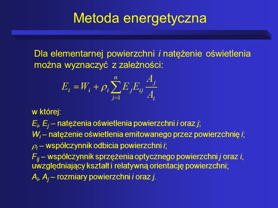 Metoda energetyczna Dla elementarnej powierzchni i natężenie oświetlenia można wyznaczyć z zależności: