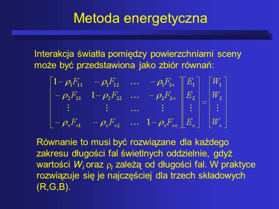 Metoda energetyczna Interakcja światła pomiędzy powierzchniami sceny może być przedstawiona jako zbiór równań: