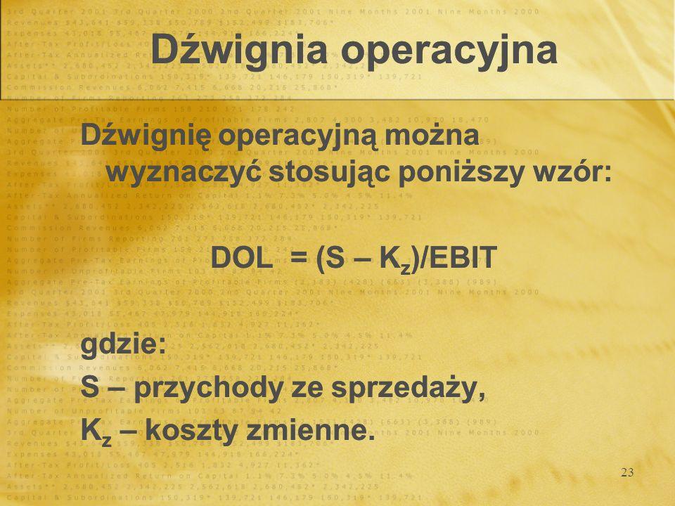 Dźwignia operacyjnaDźwignię operacyjną można wyznaczyć stosując poniższy wzór: DOL = (S – Kz)/EBIT.