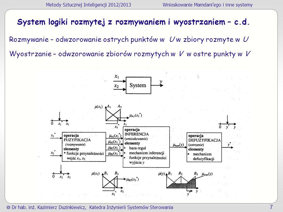 System logiki rozmytej z rozmywaniem i wyostrzaniem – c.d.