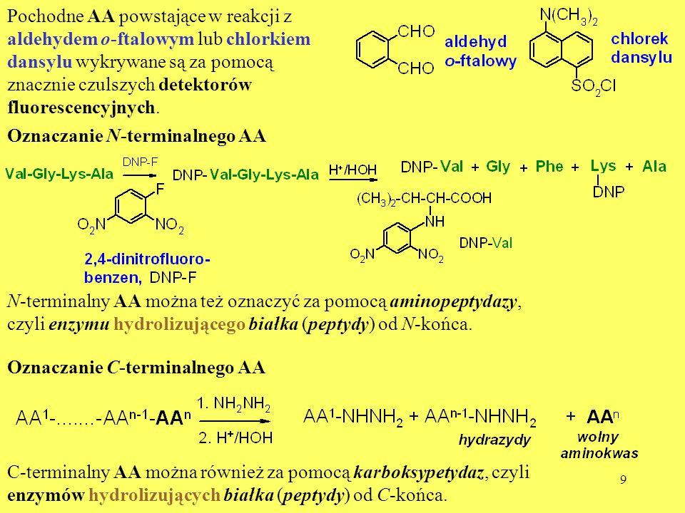 Pochodne AA powstające w reakcji z aldehydem o-ftalowym lub chlorkiem dansylu wykrywane są za pomocą znacznie czulszych detektorów fluorescencyjnych.