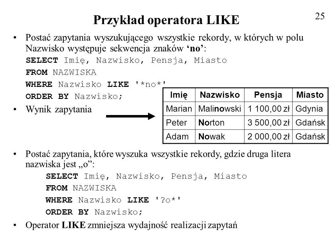 Przykład operatora LIKE
