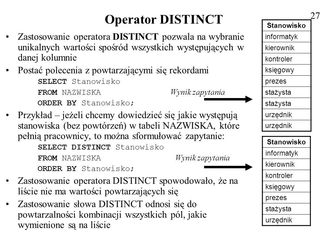 27 Operator DISTINCT. Stanowisko. informatyk. kierownik. kontroler. księgowy. prezes. stażysta.