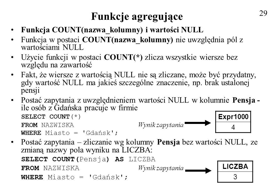 Funkcje agregujące 29 Funkcja COUNT(nazwa_kolumny) i wartości NULL