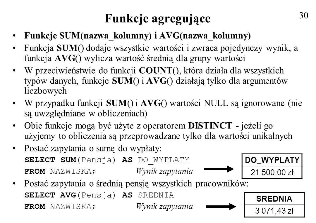 Funkcje agregujące 30 Funkcje SUM(nazwa_kolumny) i AVG(nazwa_kolumny)