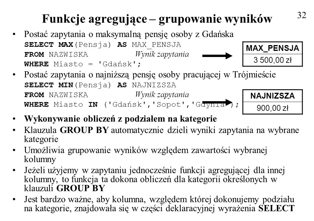 Funkcje agregujące – grupowanie wyników