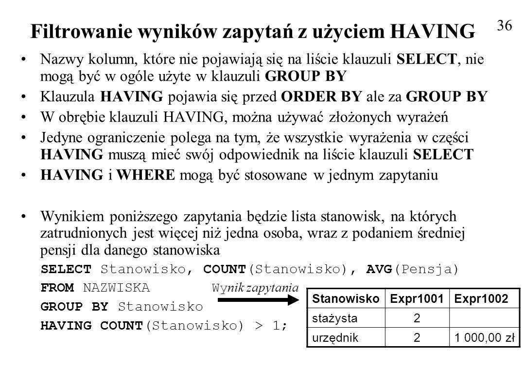 Filtrowanie wyników zapytań z użyciem HAVING