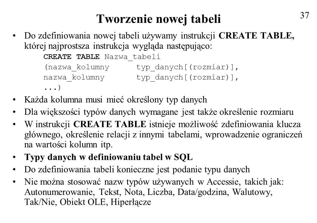 Tworzenie nowej tabeli
