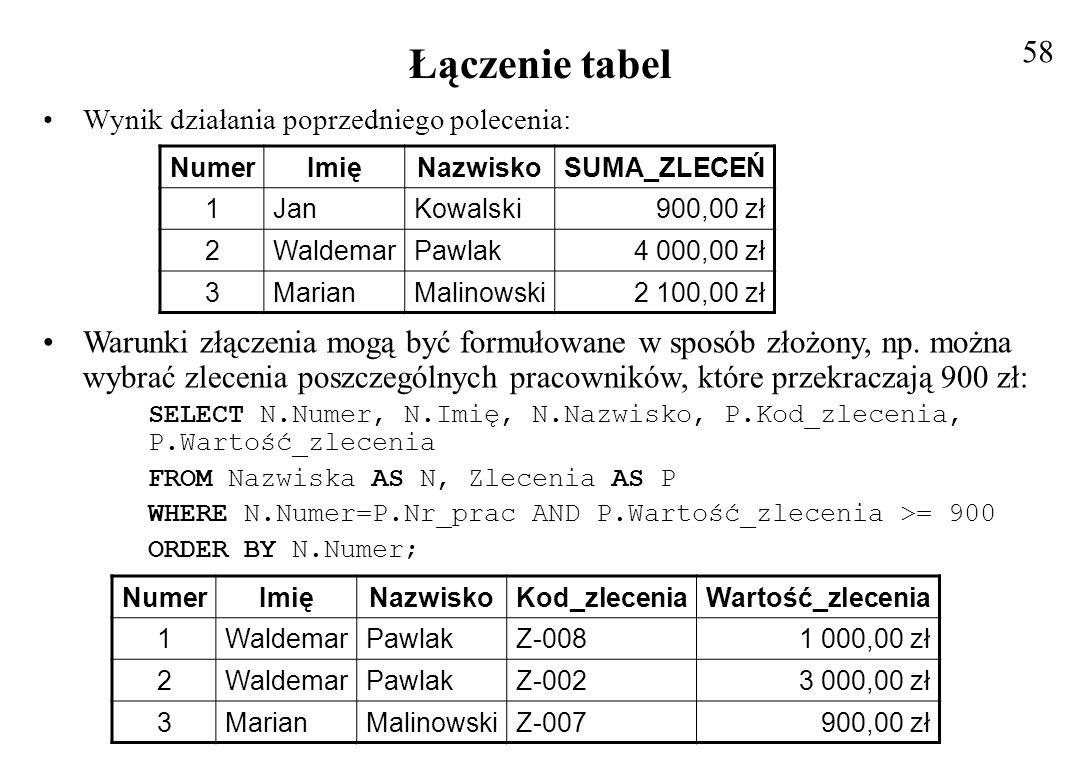 58 Łączenie tabel. Wynik działania poprzedniego polecenia: Numer. Imię. Nazwisko. SUMA_ZLECEŃ.