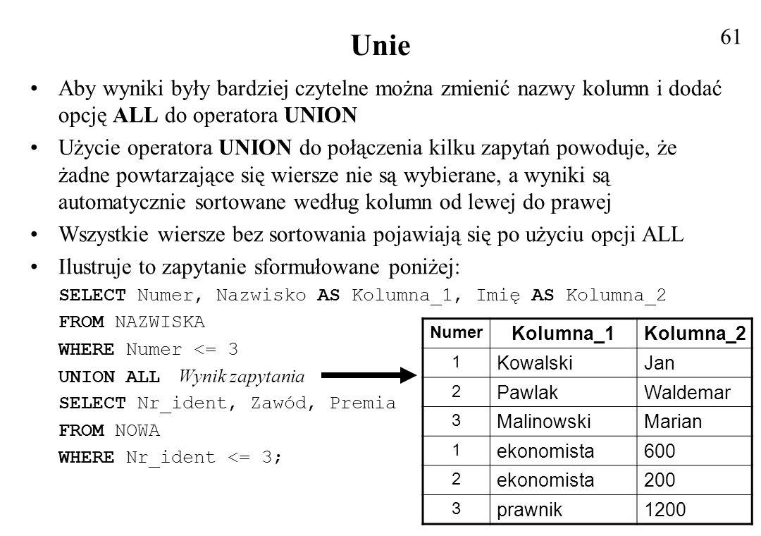 61 Unie. Aby wyniki były bardziej czytelne można zmienić nazwy kolumn i dodać opcję ALL do operatora UNION.