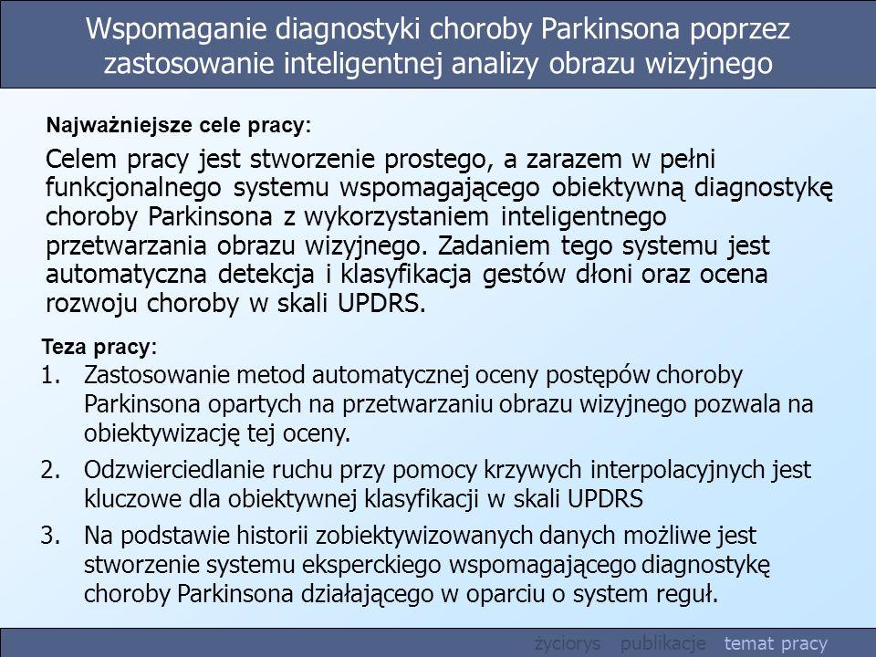 Wspomaganie diagnostyki choroby Parkinsona poprzez zastosowanie inteligentnej analizy obrazu wizyjnego