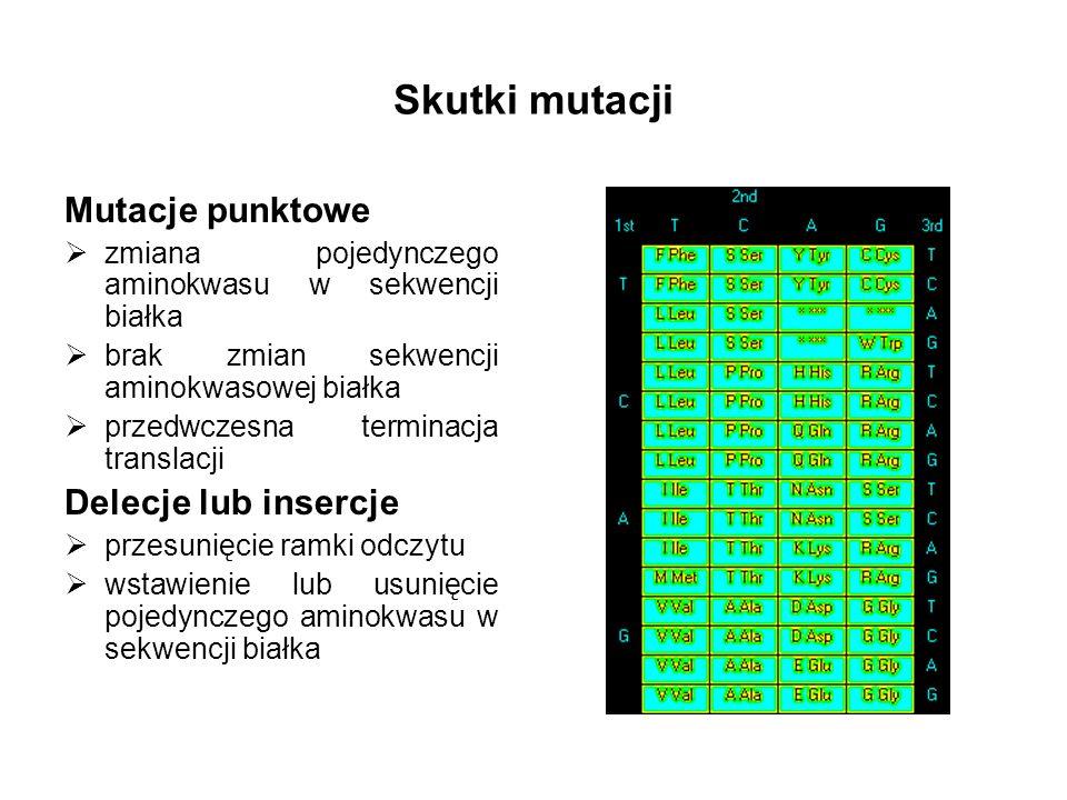 Skutki mutacji Mutacje punktowe Delecje lub insercje