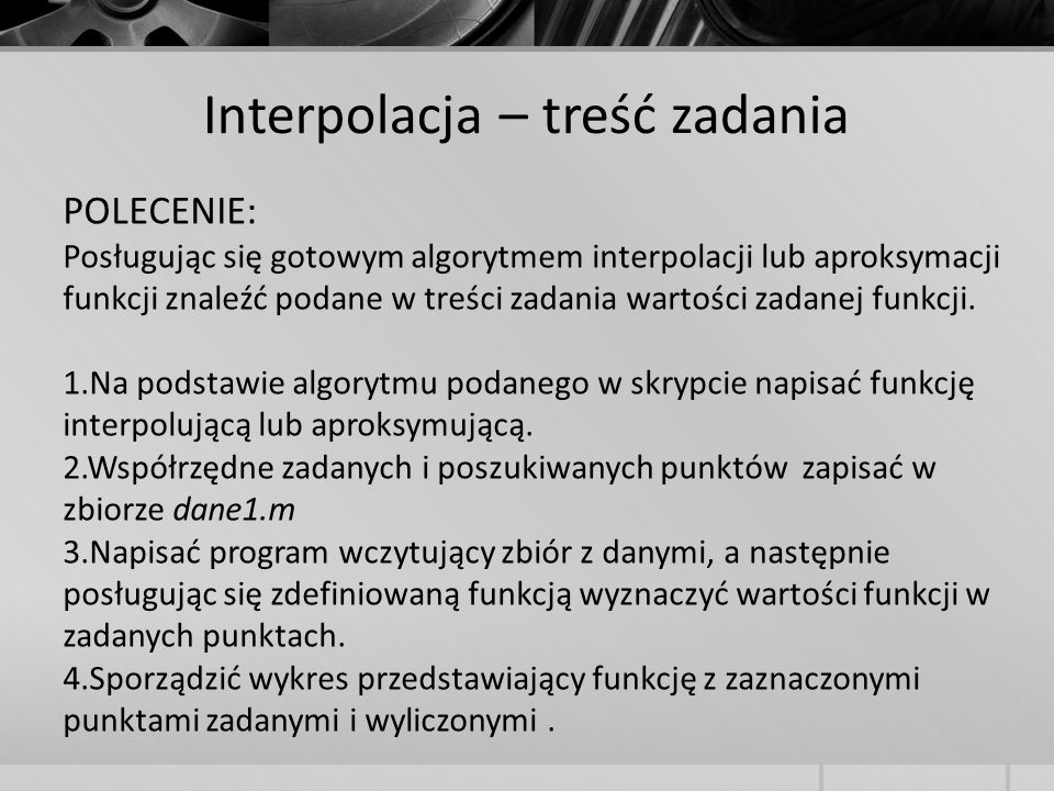 Interpolacja – treść zadania