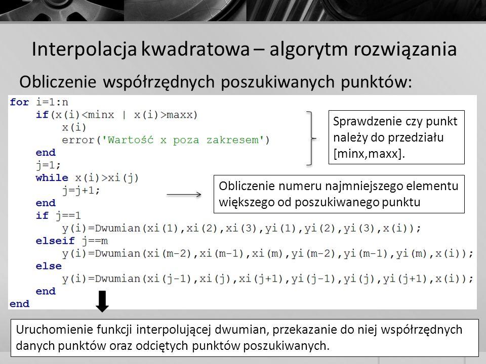 Interpolacja kwadratowa – algorytm rozwiązania