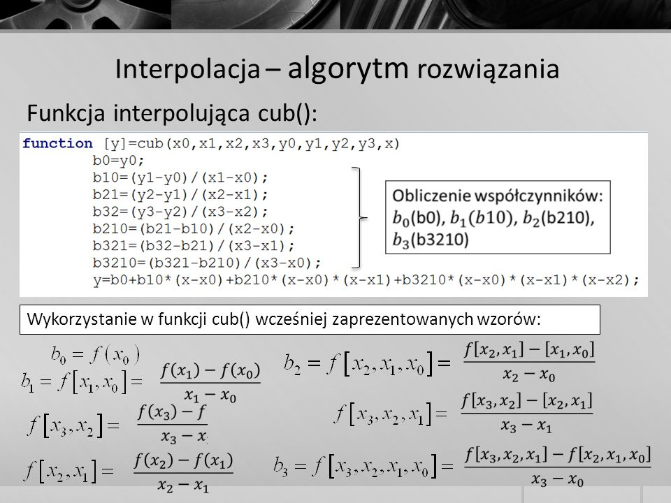 Interpolacja – algorytm rozwiązania