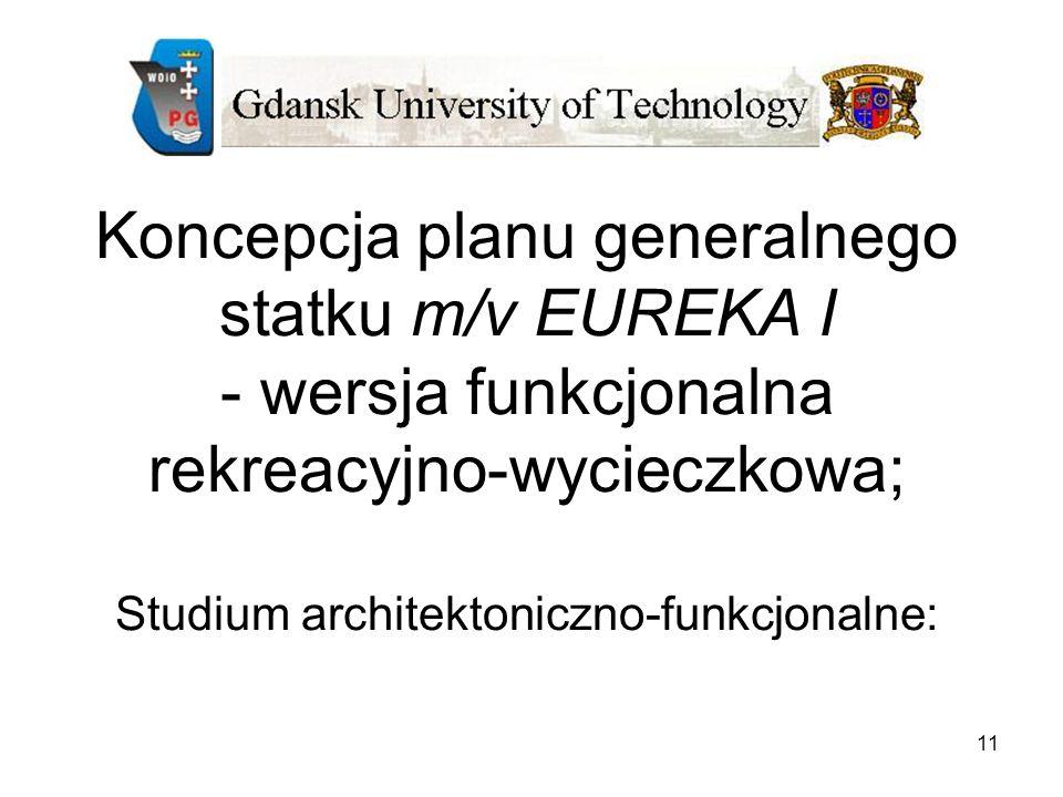 Koncepcja planu generalnego statku m/v EUREKA I - wersja funkcjonalna rekreacyjno-wycieczkowa; Studium architektoniczno-funkcjonalne:
