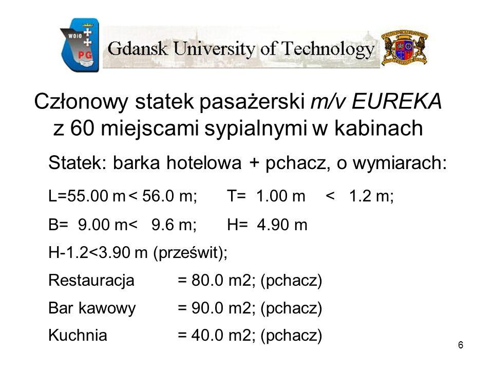 Członowy statek pasażerski m/v EUREKA z 60 miejscami sypialnymi w kabinach