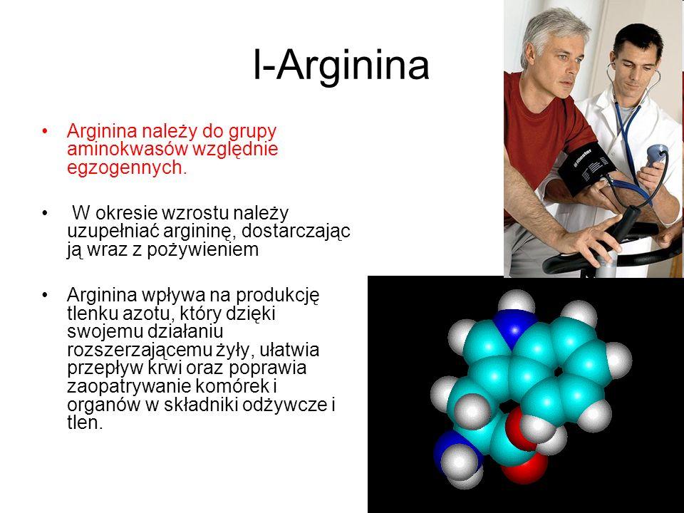 l-Arginina Arginina należy do grupy aminokwasów względnie egzogennych.