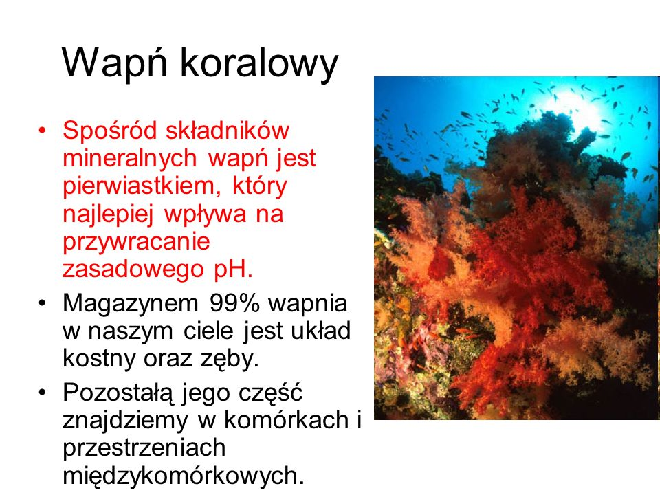 Wapń koralowy Spośród składników mineralnych wapń jest pierwiastkiem, który najlepiej wpływa na przywracanie zasadowego pH.