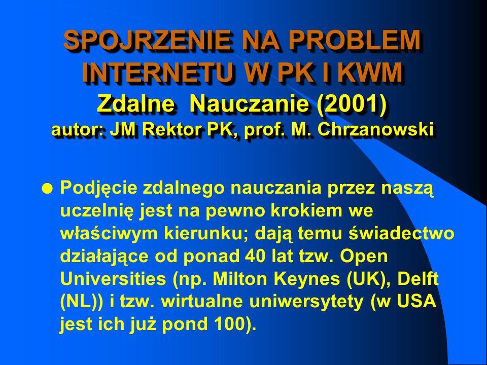 SPOJRZENIE NA PROBLEM INTERNETU W PK I KWM Zdalne Nauczanie (2001) autor: JM Rektor PK, prof. M. Chrzanowski
