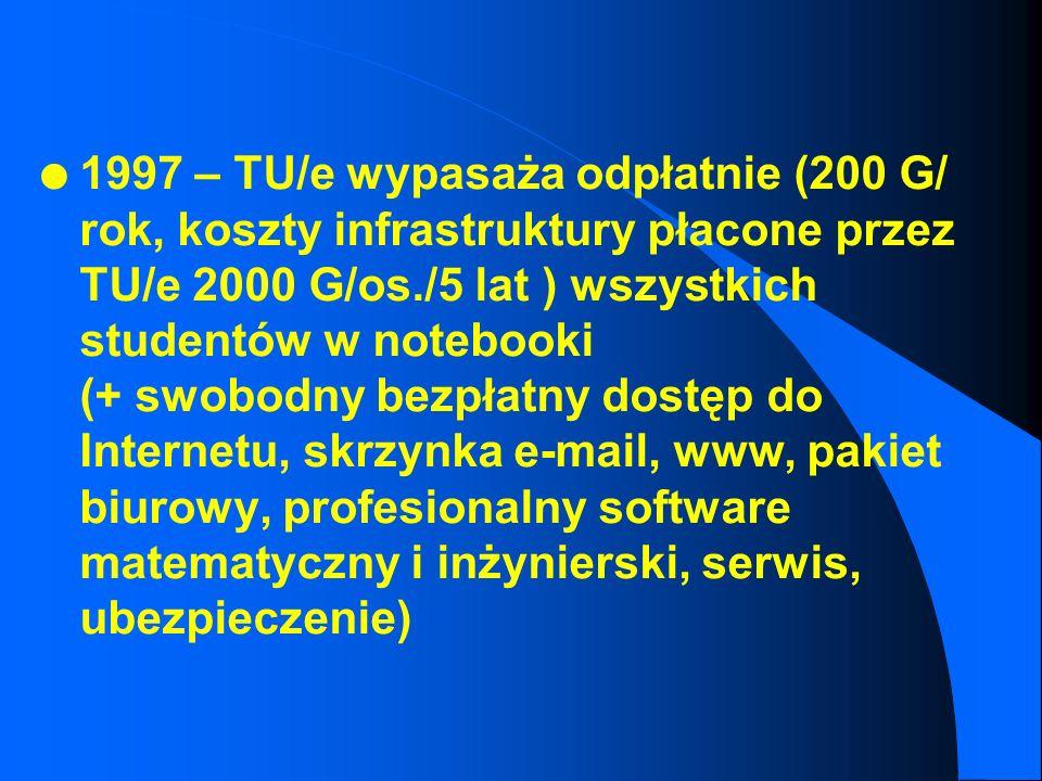1997 – TU/e wypasaża odpłatnie (200 G/ rok, koszty infrastruktury płacone przez TU/e 2000 G/os./5 lat ) wszystkich studentów w notebooki (+ swobodny bezpłatny dostęp do Internetu, skrzynka e-mail, www, pakiet biurowy, profesionalny software matematyczny i inżynierski, serwis, ubezpieczenie)