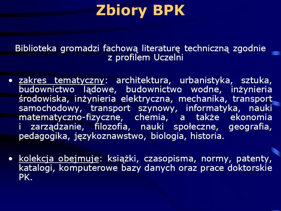 Zbiory BPK Biblioteka gromadzi fachową literaturę techniczną zgodnie z profilem Uczelni.