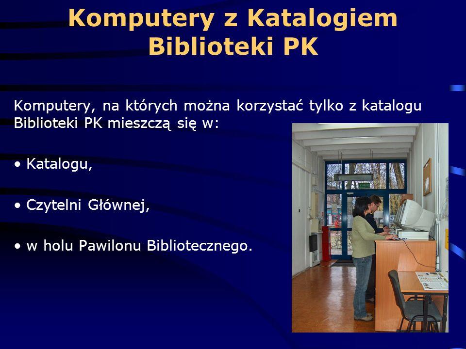 Komputery z Katalogiem Biblioteki PK