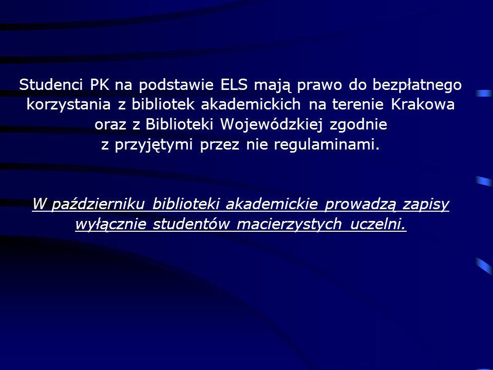 Studenci PK na podstawie ELS mają prawo do bezpłatnego