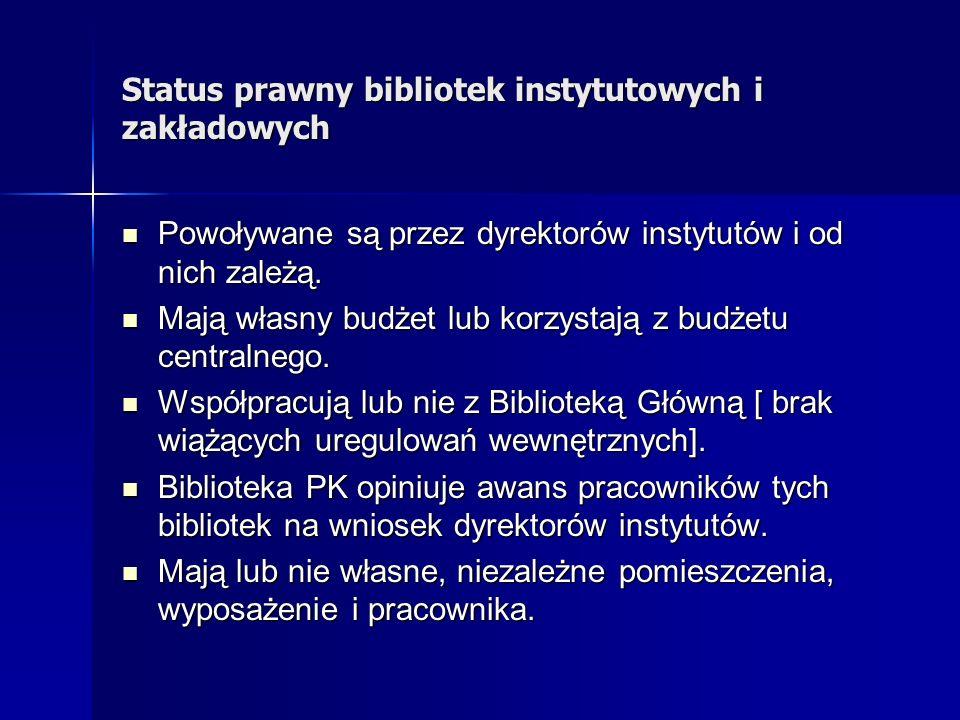 Status prawny bibliotek instytutowych i zakładowych