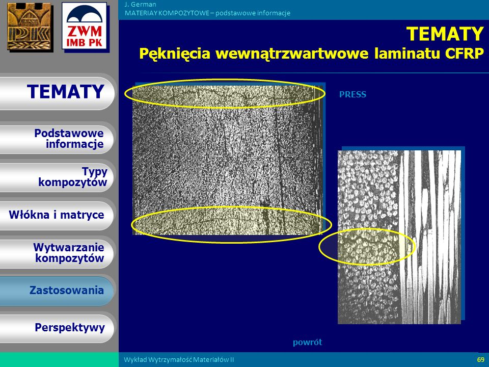 TEMATY Pęknięcia wewnątrzwartwowe laminatu CFRP