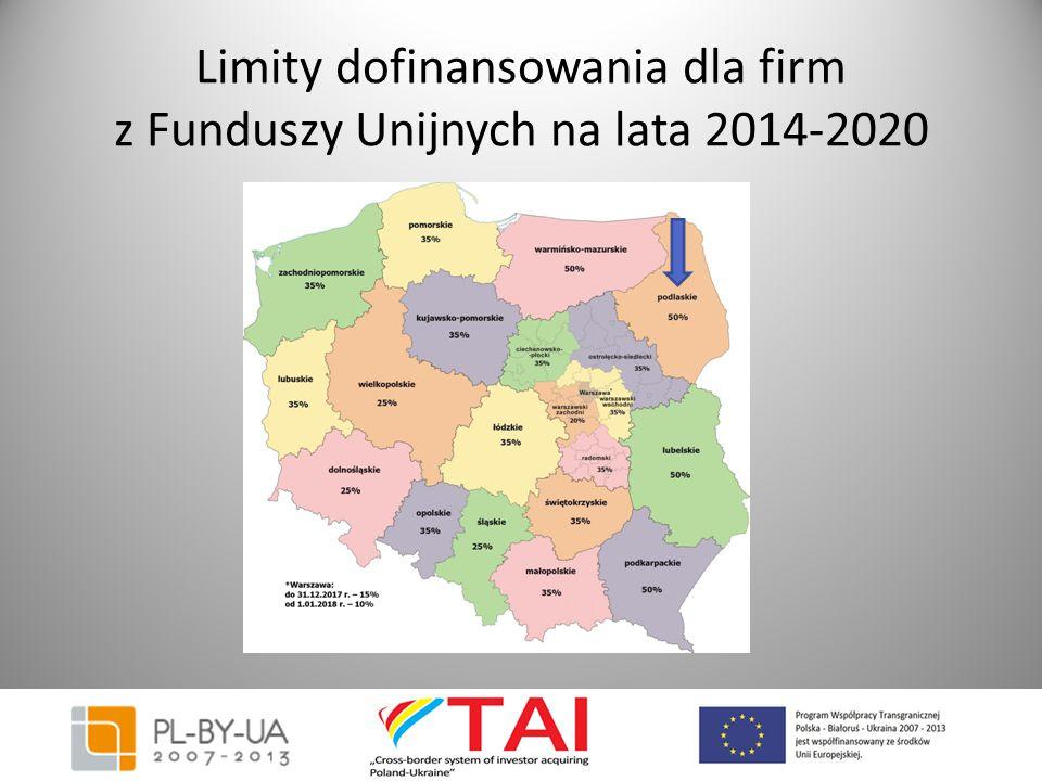 Limity dofinansowania dla firm z Funduszy Unijnych na lata 2014-2020