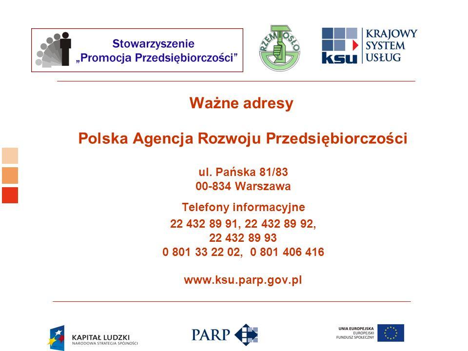 Polska Agencja Rozwoju Przedsiębiorczości Telefony informacyjne
