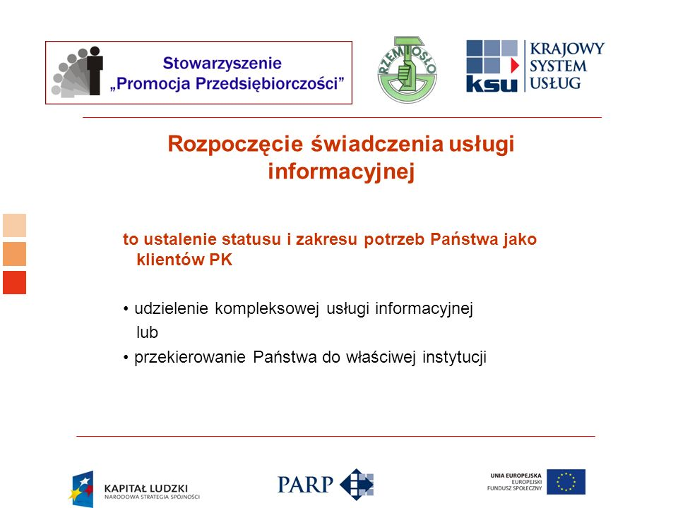 Rozpoczęcie świadczenia usługi informacyjnej