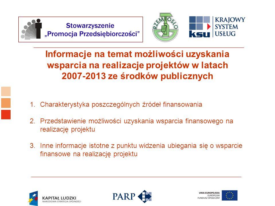 Informacje na temat możliwości uzyskania wsparcia na realizacje projektów w latach 2007-2013 ze środków publicznych