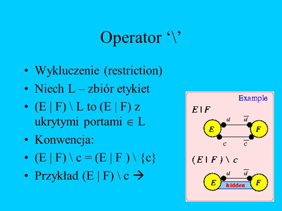 Operator '\' Wykluczenie (restriction) Niech L – zbiór etykiet