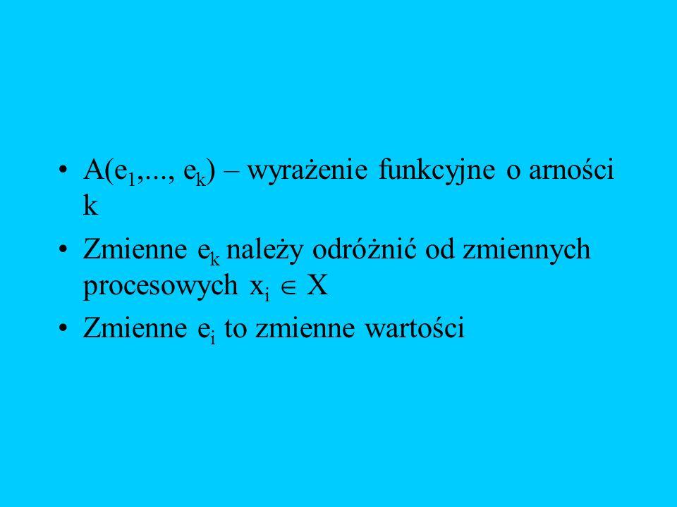 A(e1,..., ek) – wyrażenie funkcyjne o arności k
