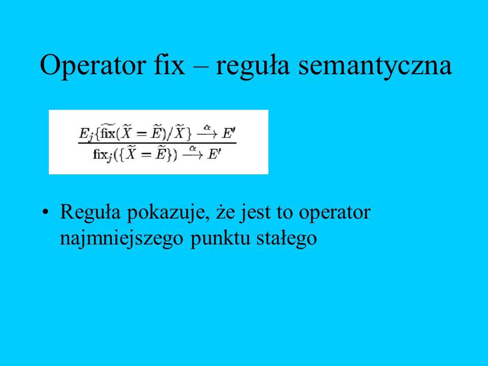 Operator fix – reguła semantyczna
