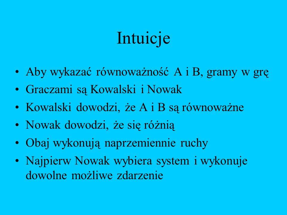 Intuicje Aby wykazać równoważność A i B, gramy w grę